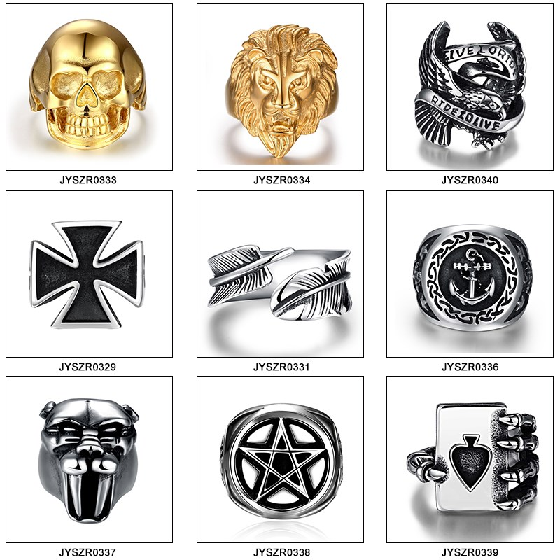 Stainless steel factory gold skull biker ring