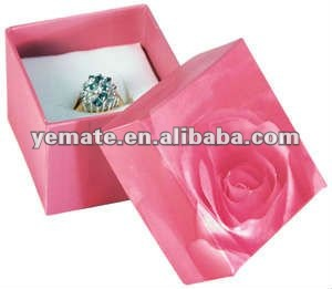 Pink rose square cardboard jewelry box paper,jewelry box paper classic for ring with white foam inside