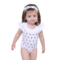 Wholesale 3 Pcs Set Head Band + Bibs + Romper Baby Gift Set Latest New Born Romper