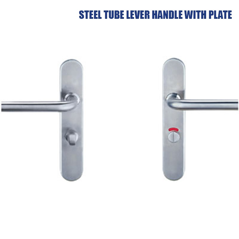 steel tube lever handle with plate
