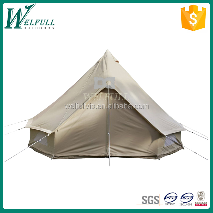 White round 4M cotton canvas bell tent