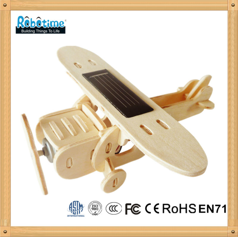 Solar powered aircraft puzzle model toy for children