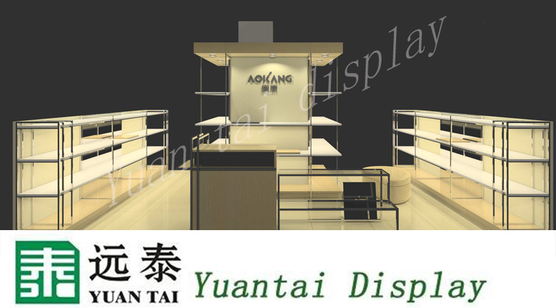 fashion design shoe store display shelves ,cashier counter and kiosk