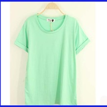 korea model roll sleeve t-shirt loose version t shirt design for ladies fresh girlscustom t-shirt