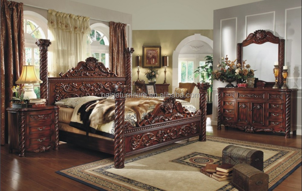 F 8008 2015 New Luxury Design Bedroom Furniture King Four Poster