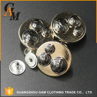 New style silver nickel free metal button custom design jeans buttons nail for clothing