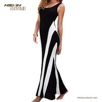 Long Casual Bodycon Sleeveless Bandage Black White Bohemia Dress