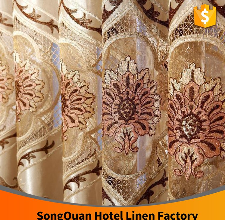 Newest designs embroidery high quality living room window curtain