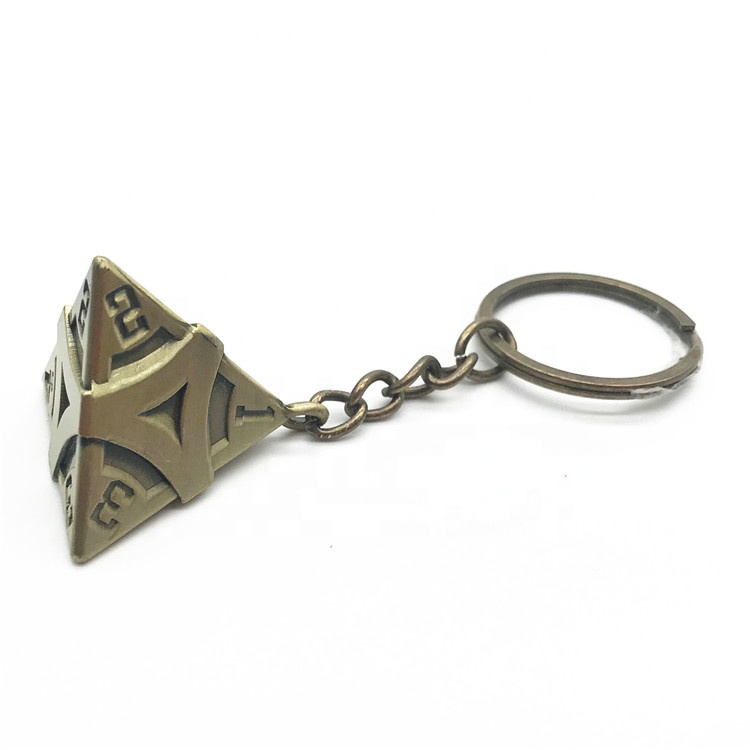 custom 3D cone shape Keychain Antique copper plated keyring