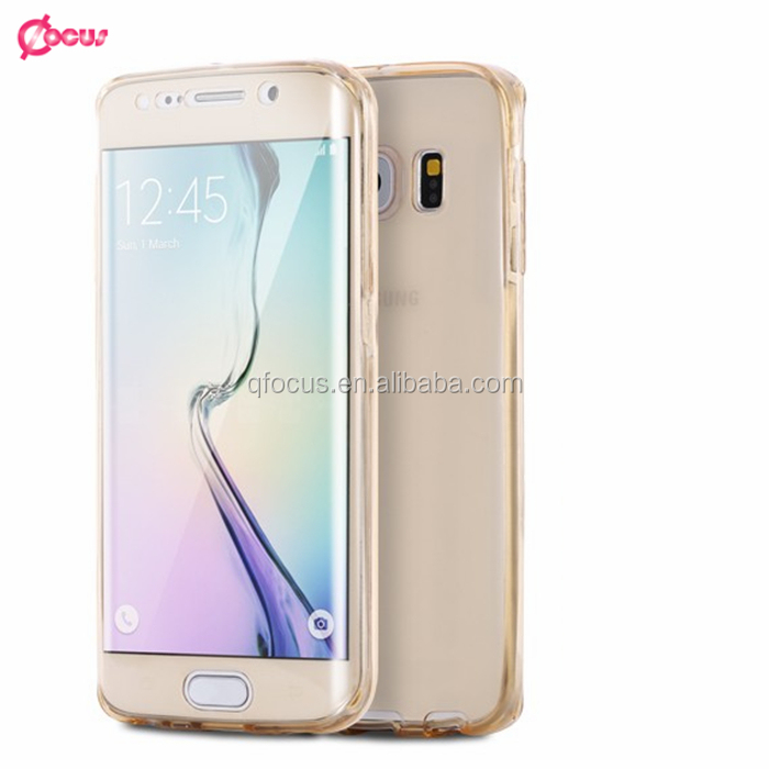 High Quality for S6 Edge Plus 360 Degree Coverage Protective Case 2 In 1 Back Front Smart Touch Soft Clear Cover