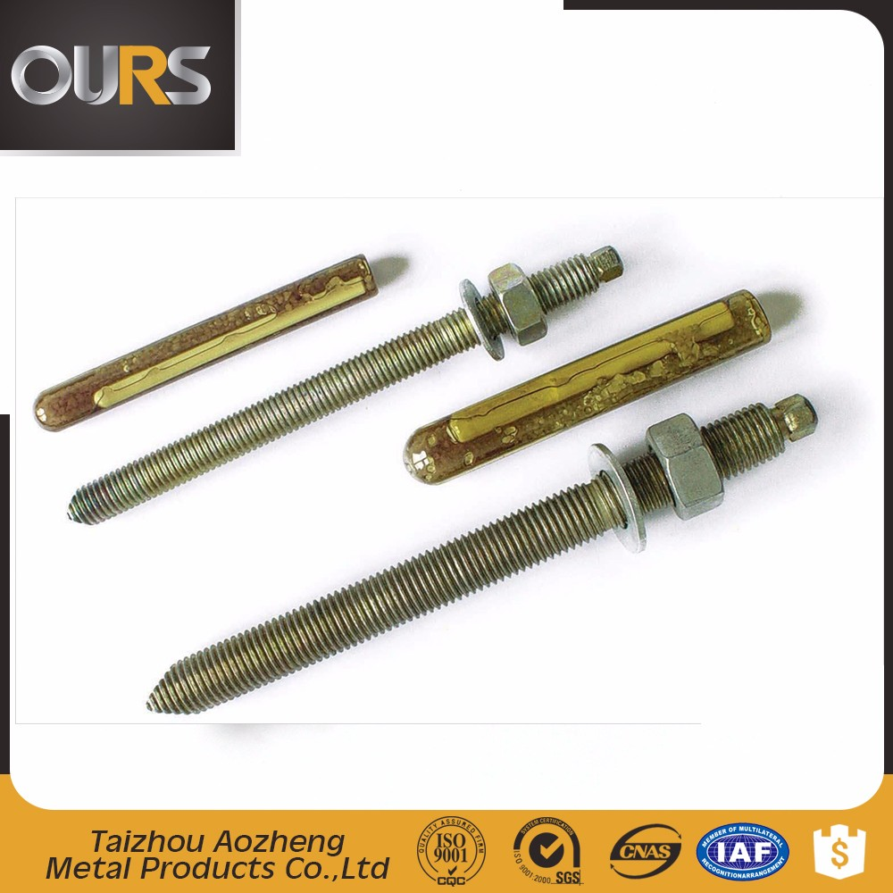 high quality 4.8 grade high strength carbon steel or ss 304 (A2) or ss(316)chemical anchor bolt