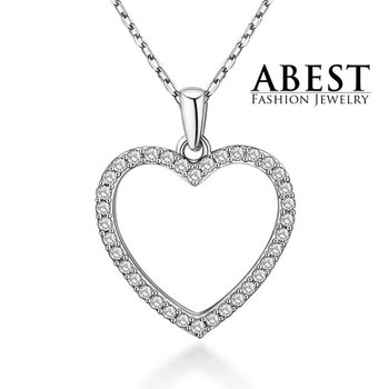 Hot Sale Heart Love Pendant Sterling 925 Silver Plating 18K White Gold Light Weight Elegant Pendant Necklace Jewelry