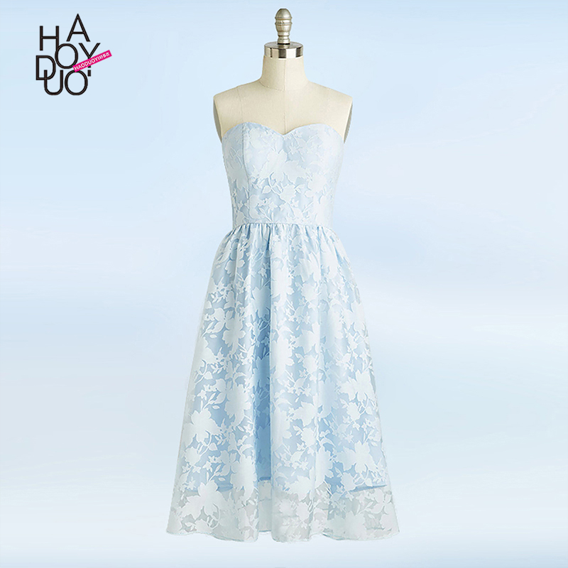 HAODUOYI Women Fashion Sexy Strapless Vintage Elegant Double Lace Light Blue A-Line Party Summer Dress for Wholesale