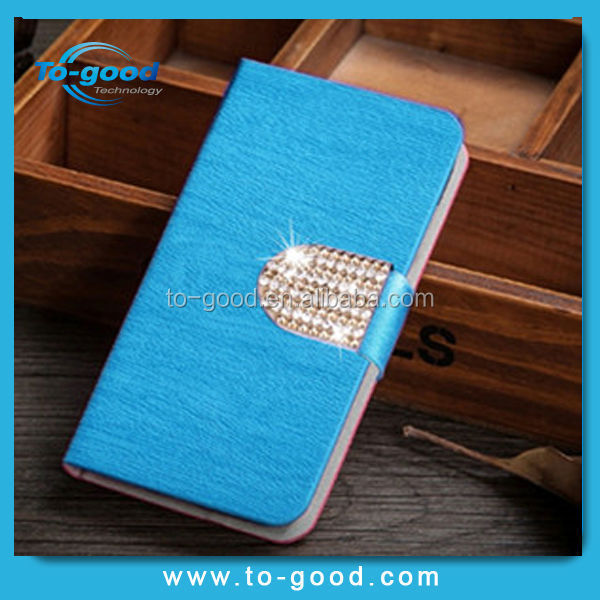 Wholesale 2015 Trendy Diamond Design Leather Flip Case For Lenovo S820,Mobile Phone Case For Lenovo S820 Leather Case(Blue)