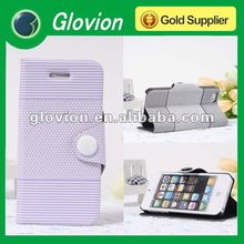 Fashionable stripe protective PU leather case for iphone5 Wallet design with standing Handmade leather case