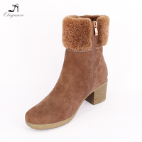 2017 Fashion Women Suede Warm Fur Plush Inner Snow Winter Midcaf Ladies Chunky Mid Heel Casual Outdoor Boots
