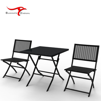 Cheap Plastic Injection Garden Furniture Outdoor Bistro Rattan Wicker Folding Balcony Table and Chair Set