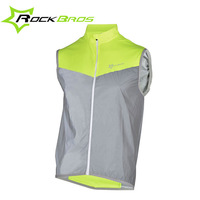 ROCKBROS Reflective High Visibility Vest Safety Bike Sleeveless Reflective Sports Jersy Breathable Windproof Cycling Wear