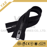 5# plastic zipper , open-end , auto-lock thumb slider , with H bottom stop