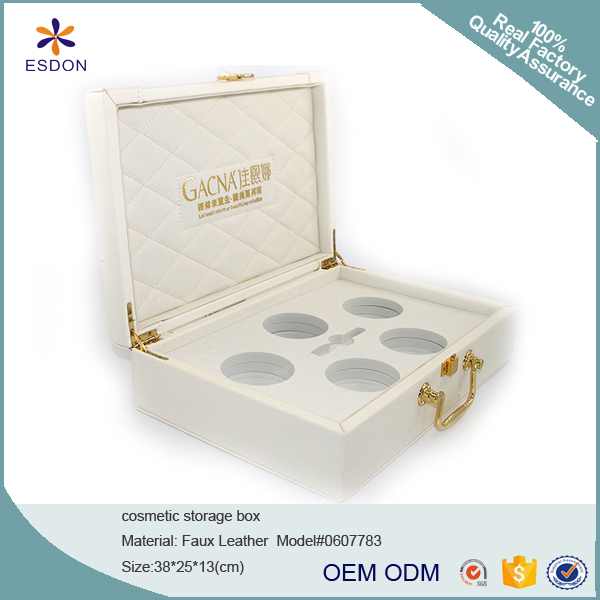 luxury PU leather skin care cream products holder storage gift box with EVA inner holding tray