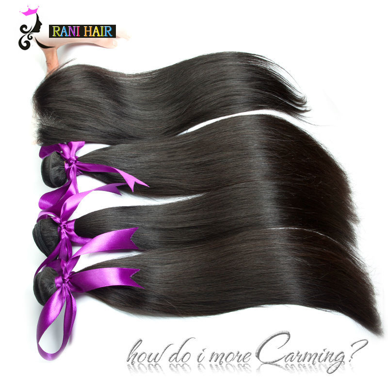 8A Straight Brazilian Virgin Hair With Closure Cheap Human Hair With Closure Brazilian Straight Hair Bundles With Lace Closures