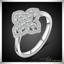 Good Quality Brass Diamond Korea Ring Platinum Plated Ladies Finger Ring Design
