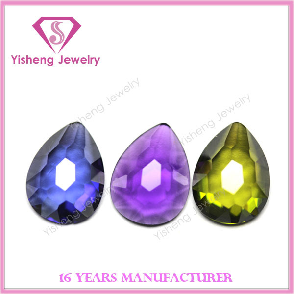 Pear Shape Random Cut Flat Back Quality CZ Gems Jewelry Stone