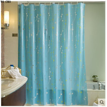 Wholesale with 12 Hooks Modern 3D Waterproof Mouldproof Flower Printed Ready Made Christmas Bathroom Blue Peva Shower Curtain