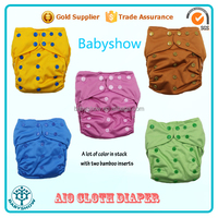 Babyshow wholesale washable AIO cloth diaper colorful snaps cloth diaper with bamboo insert