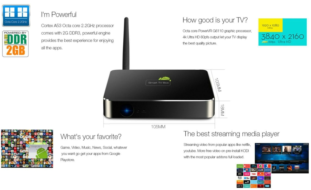 RK3368 Octa core 4K TV box smart android MINI PC GPU A53 supports 4K2K@60FPS!