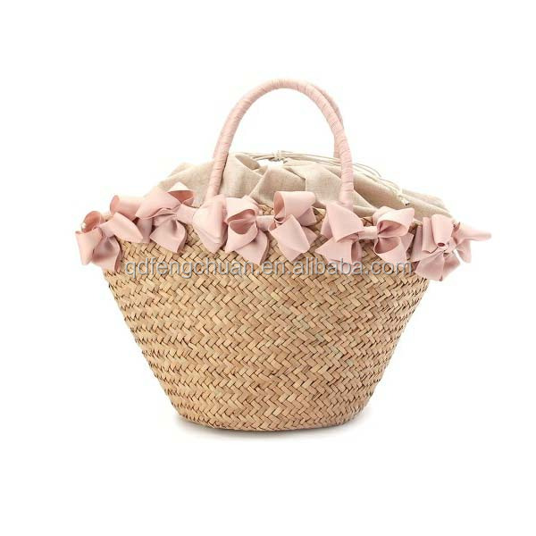 Handmade straw shopping bag Natural straw shopping bag