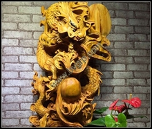 Wooden carving crafts dragons patten natural root carving for decoration