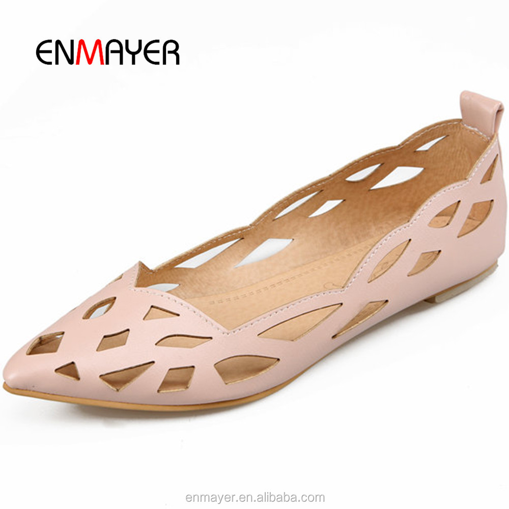 2016 spring hollow out pointed toe women pumps sandals fashion ladies <strong>flat</strong> casual shoes whloesale women summer sandals