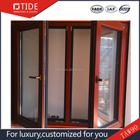 TAN90 series decorative glass windows aluminum wood window with blinds inserts