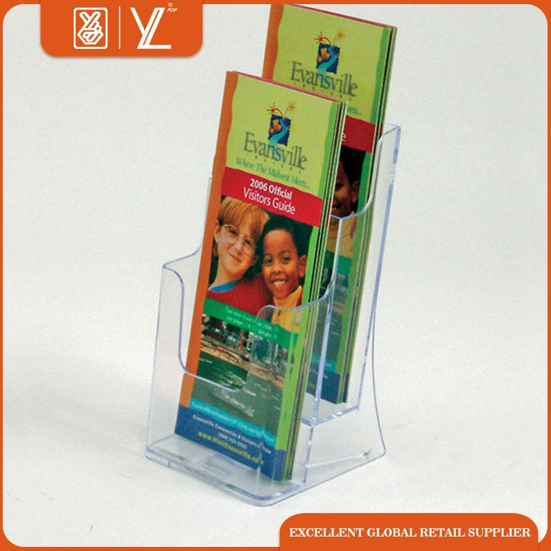 wholesale 2 pockets clear acrylic brochure stand magazine display rack