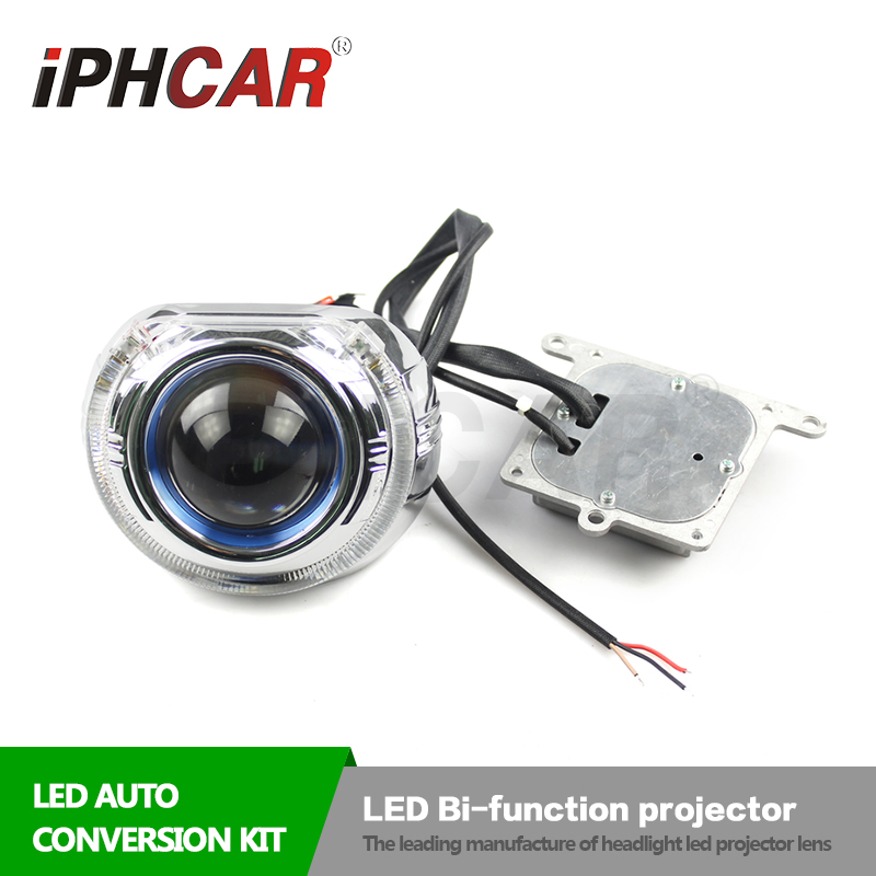 IPHCAR 9-16V High Low Beam 38W Led Projector Lens for Car 60000K Bi Led Lens Xenon Light