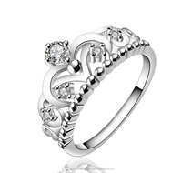 Fashion jewelry accessories wholesale sales 925 sterling silver rhodium plating crown shaped princess ring