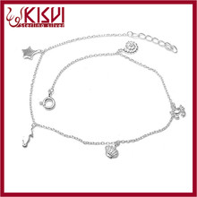 Dubai wholesale market silver anklet bracelet 2015 China fashion 925 sterling silver jewelry Hot sale