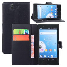 Business Design PU Leather Flip Case With Card Slot Wallet Cover For Sony Xperia Z L36H
