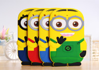 Cute 3d kids silicone cartoon minion case For ipad mini 1/2/3,100pcs/lot