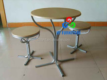 New design bar furniture steel frame round wooden top table and chairs