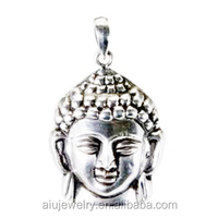 brass base men antique silver buddha pendant