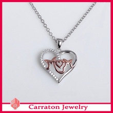 Customized Logo 925 Silver Jewelry Accent MoM Heart Pendant Necklace Gift