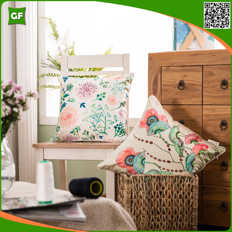 Fancy Colorful Flowers Botanic Printed Custom Square Satin Pillow Cover For Hotel