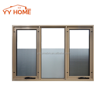 YY Home aluminum chain wider awning window in powder coating color with double tempered glass with blinds/grill inside
