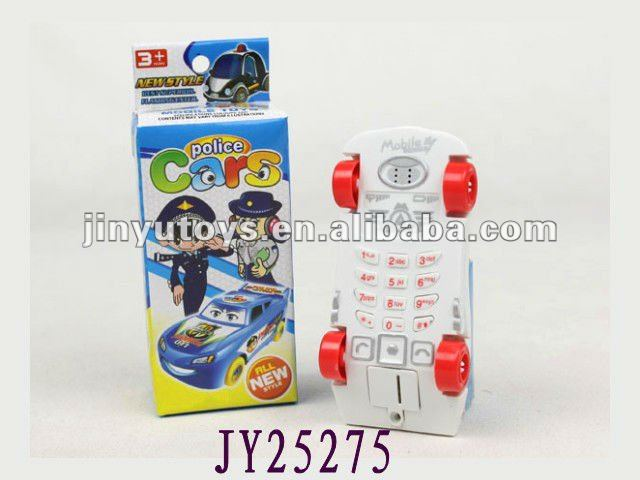Car shaped mobile phone with police sticker toy mobile phone for kids