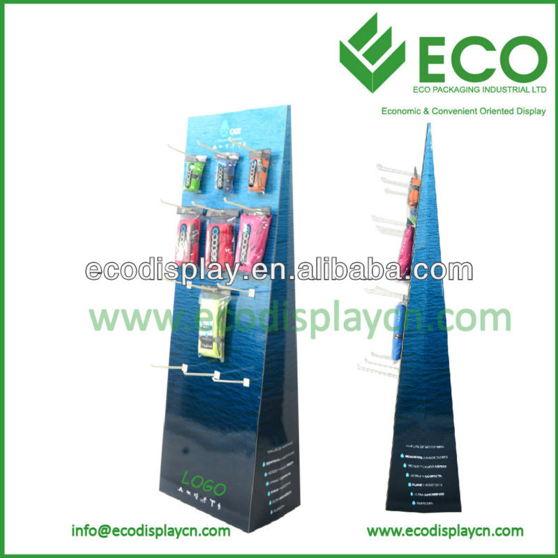 Promotional Triangle cardboard display rack with plastic hooks for towel