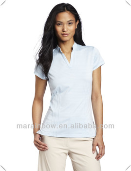 Best quality 100% polyester cool dry ladies slim fitting golf polo shirts ,Deep V neck trendy design hotsale