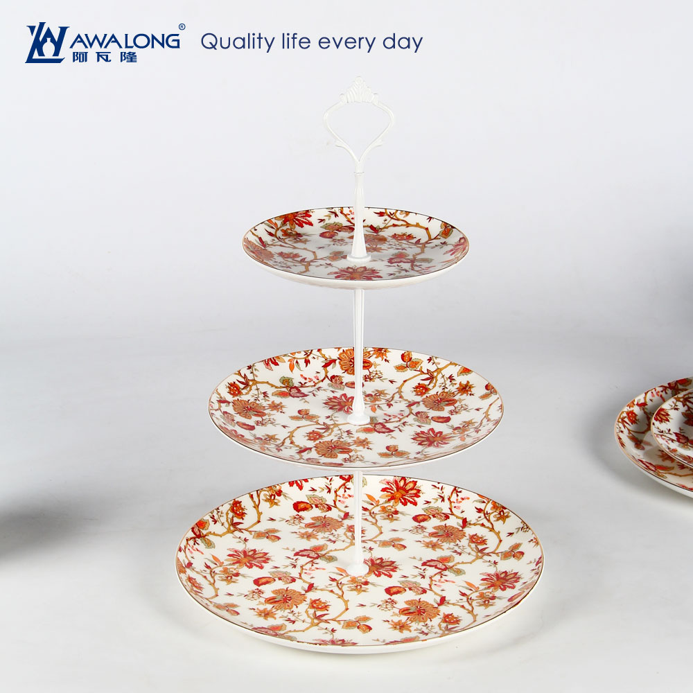 Flower Pattern Three Tier Cake Stand With Blue Flower pattern / fruit plate