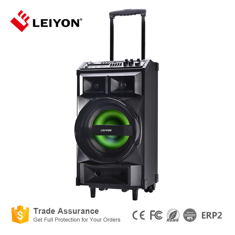 2017 New Hot Big Power OEM Portable clourful LED light Bluetooth USB FM SD PA System DJ Speaker Trolley Player with bettery